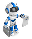 Blue robot is holding a briefcase and paper. Create 3D Humanoid