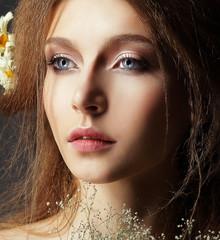 Nostalgia. Humble Meek Woman with Perfect Natural Skin