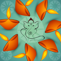 Beautiful Artistic colorful  Hindu Lord Ganesha background