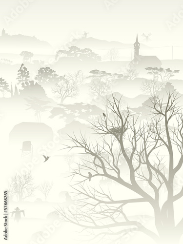 Illustration of misty valley with nest in tree.