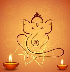 Beautiful diwali celebration Hindu Lord Ganesha festival colorfu