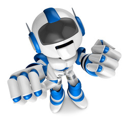 Blue Robot Character and a boxing play. Create 3D Humanoid Robot