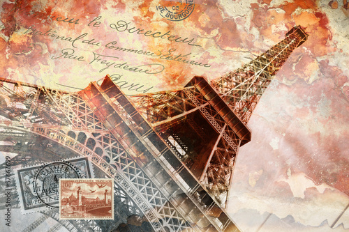 Eiffel tower Paris, abstract digital art