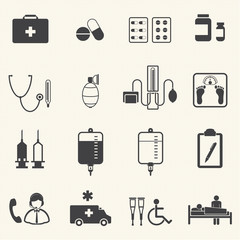 Medical Icons with texture background.