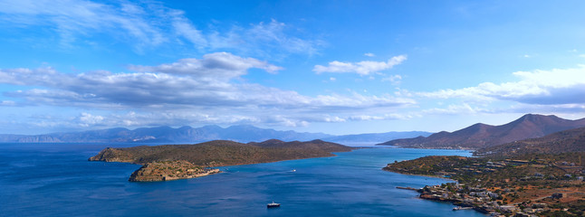 Spinalonga island and Mirabello Bay, Crete, Greece.
