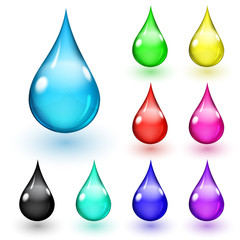 Set of multicolored drops