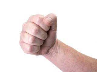 Close up photo of a threatening fist isolated on white