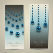 Christmas banners with blue spheres