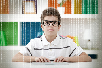 Little hacker with binary code