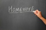 The word homework on the blackboard