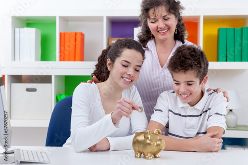 Family saving money