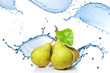 fresh water splash on pears isolated on white