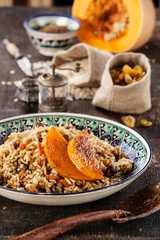 Uzbek national dish pilaf with pumpkin