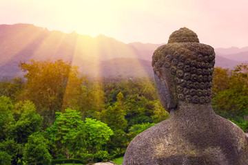 Buddha statue in the morning at Borobudur Temple. Yogyakarta