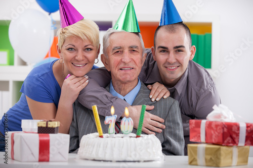 Happy family celebrating birthday together