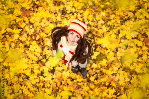 adorable woman in the autumn park