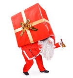 Santa Claus carries a big gift on white background