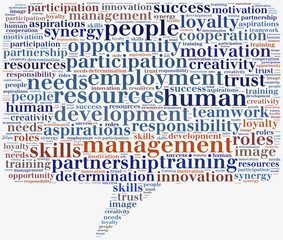 Tag or word cloud human resources related in shape of callout