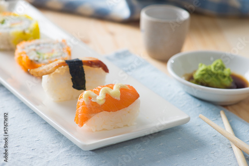 Sushi Assortment On a Dish, close up
