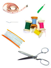 Sewing accessories isolated on white