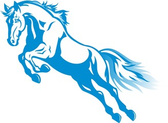 prancing blue horse for the new year 2014