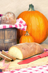 Homemade bread on the country style table