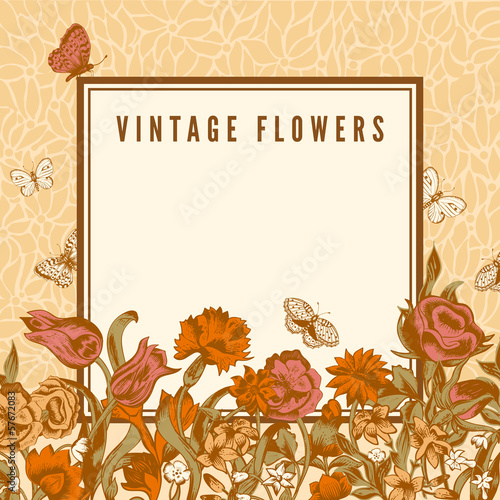 Vector vintage wedding card with flowers and butterflies