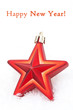 Christmas decoration red star in the snow, isolated