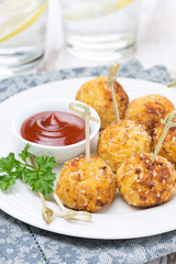 chicken meatballs with tomato sauce, close-up