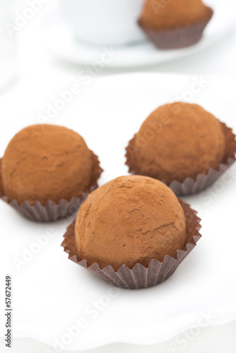 chocolate truffles on a white background, close-up