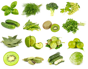 Vegetables, fruits and spices green color