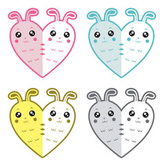 Cute rabbits-hearts