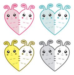 Cute rabbits-hearts