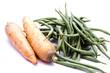 Stangenbohnen und Karotten