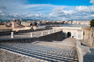 Entrance to Fort san nicolas and vieux port view at Marseille