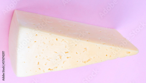 Cheese on Pink Background