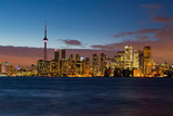 Skyline of Toronto at night after dusk