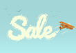 Biplane with word Sale. Vector illustration.