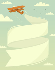 Biplane with banner. Vector illustration.