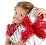 Little girl with christmas gift
