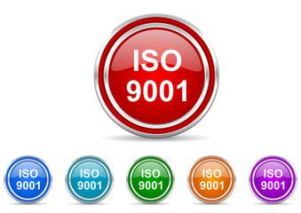 iso 9001 icon vector set