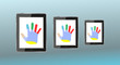 abstract male hand on tablet PC