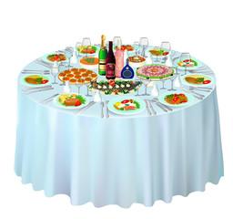 gala buffet served on white