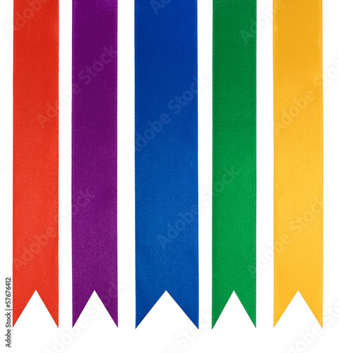 collection of five different color ribbons