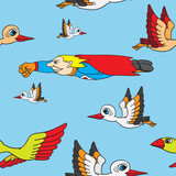 Seamless background. Birds and superman flying in the sky.