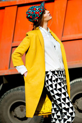 yellow coat