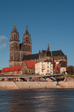 Cathedral of Magdeburg at river Elbe, Germany, Autumn 2013