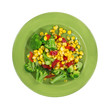 Broccoli corn and red peppers on a green plate