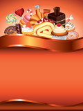 Cakes and candies vector background