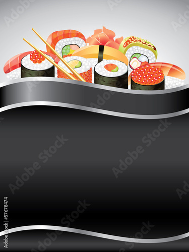 Sushi on black vertical background